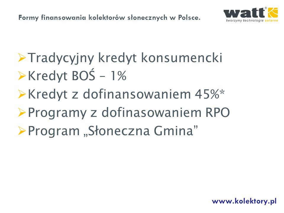 Tradycyjny kredyt konsumencki Kredyt BOŚ – 1% Kredyt z dofinansowaniem 45%* Programy z dofinasowaniem RPO Program Słoneczna Gmina Formy finansowania k