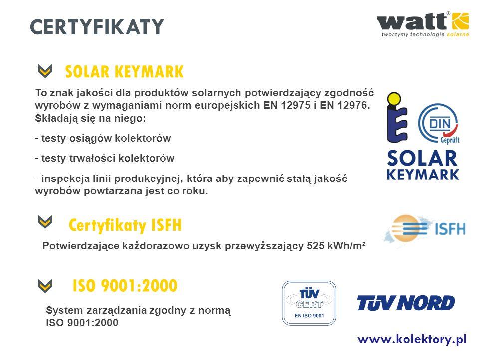 SOLAR KEYMARK To znak jakości dla produktów solarnych potwierdzający zgodność wyrobów z wymaganiami norm europejskich EN 12975 i EN 12976. Składają si