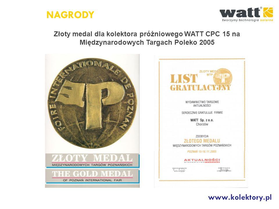 NAGRODY www.kolektory.pl Złoty medal dla wysokoselektywnego kolektora płaskiego WATT 4000 na Międzynarodowych Targach Poleko 2010