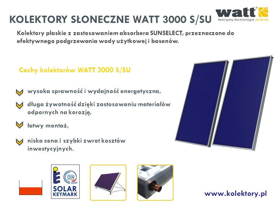 KOLEKTORY SŁONECZNE WATT 3000 S/SU Kolektory płaskie z zastosowaniem absorbera SUNSELECT, przeznaczone do efektywnego podgrzewania wody użytkowej i ba