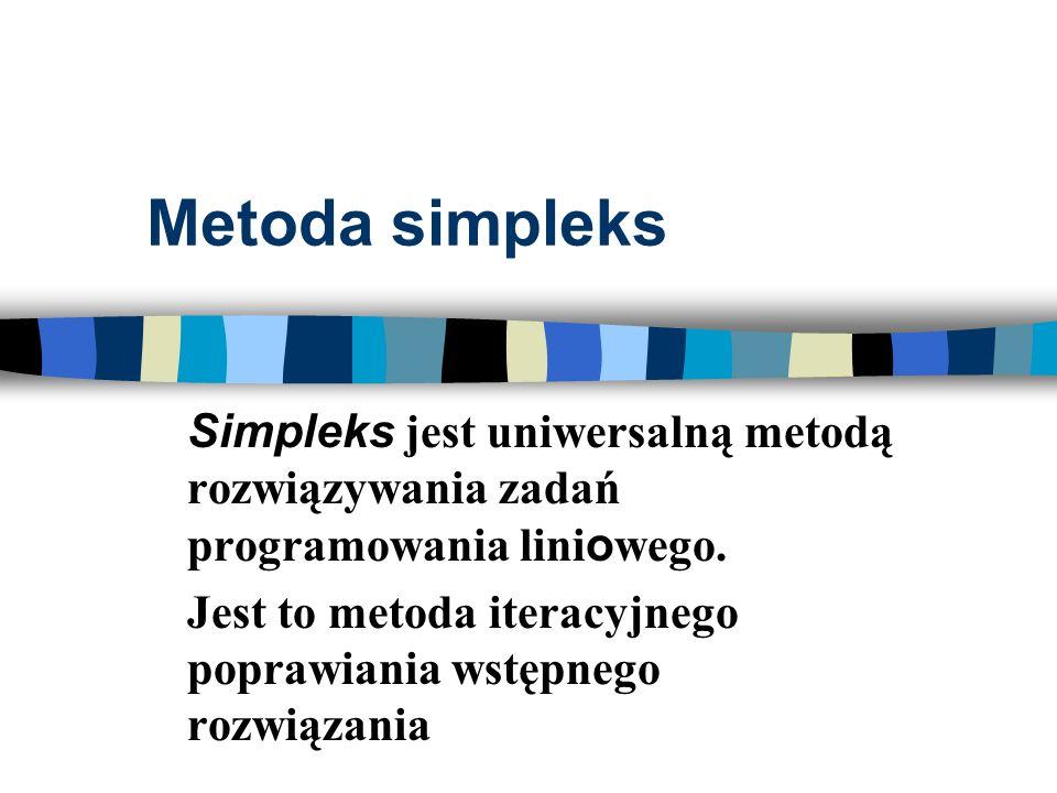 Metoda simpleks Simpleks jest uniwersalną metodą rozwiązywania zadań programowania lini o wego. Jest to metoda iteracyjnego poprawiania wstępnego rozw