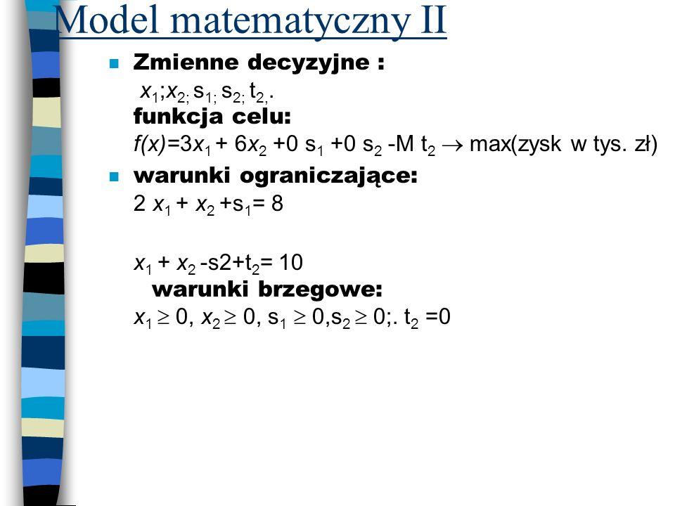 Model matematyczny II Zmienne decyzyjne : x 1 ;x 2; s 1; s 2; t 2,. funkcja celu: f(x)=3x 1 + 6x 2 +0 s 1 +0 s 2 -M t 2 max(zysk w tys. zł) warunki og