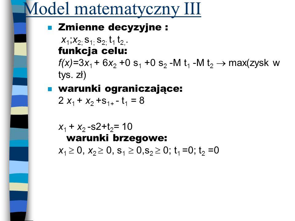 Model matematyczny III Zmienne decyzyjne : x 1 ;x 2; s 1; s 2; t 1 t 2,. funkcja celu: f(x)=3x 1 + 6x 2 +0 s 1 +0 s 2 -M t 1 -M t 2 max(zysk w tys. zł