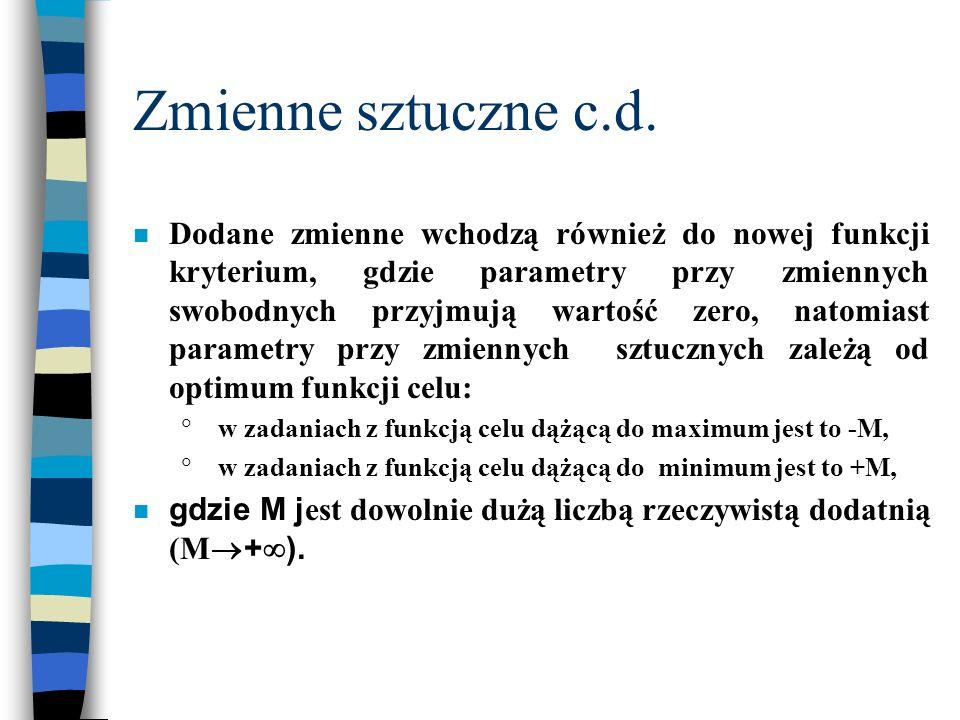 Zmienne sztuczne c.d. n Dodane zmienne wchodzą również do nowej funkcji kryterium, gdzie parametry przy zmiennych swobodnych przyjmują wartość zero, n