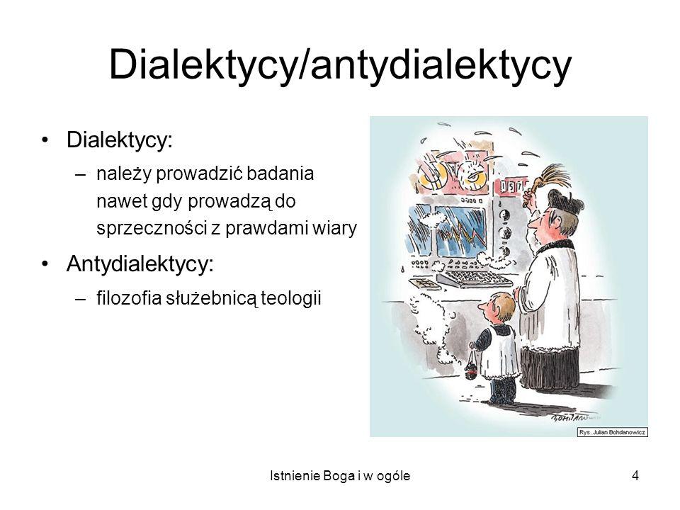 Istnienie Boga i w ogóle5 Dialektycy/antydialektycy Dialektycy: –należy prowadzić badania nawet gdy prowadzą do sprzeczności z prawdami wiary Antydialektycy: –filozofia służebnicą teologii Filozofia scholastyczna: –wiara poszukująca zrozumienia –autonomia rozumu w granicach wiary