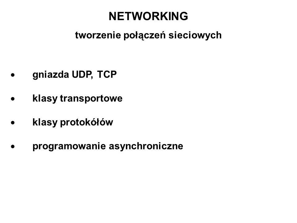 NETWORKING tworzenie połączeń sieciowych gniazda UDP, TCP klasy transportowe klasy protokółów programowanie asynchroniczne