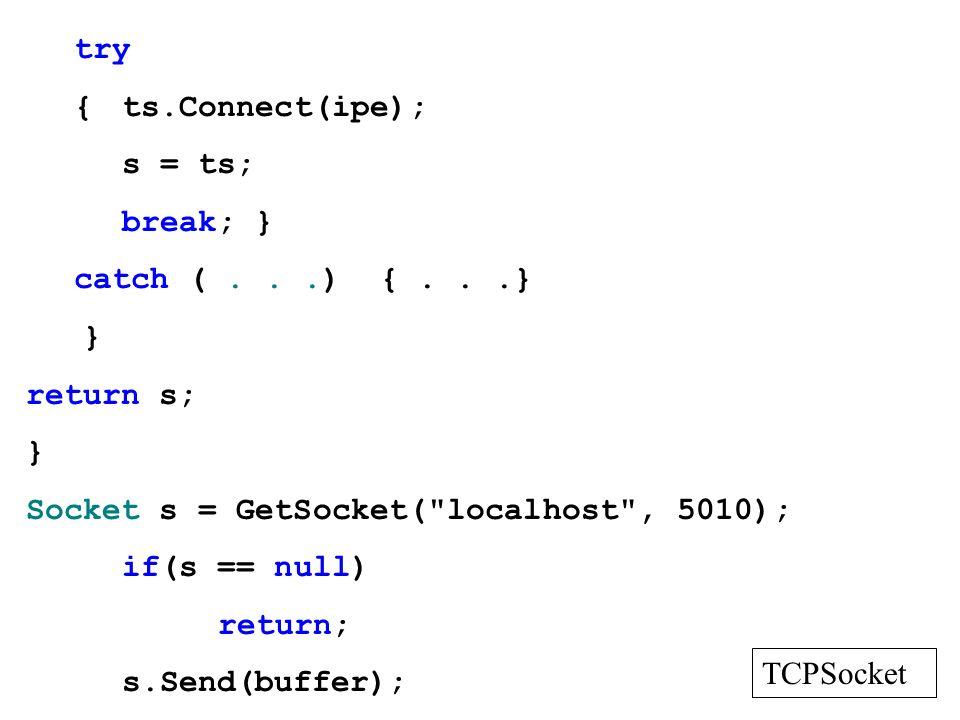 try {ts.Connect(ipe); s = ts; break; } catch (...) {...} } return s; } Socket s = GetSocket(