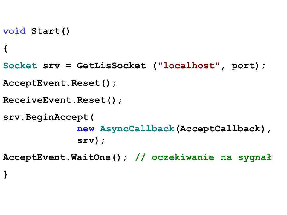 void Start() { Socket srv = GetLisSocket (