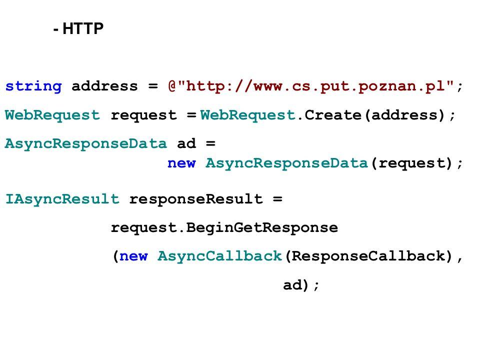 - HTTP string address = @