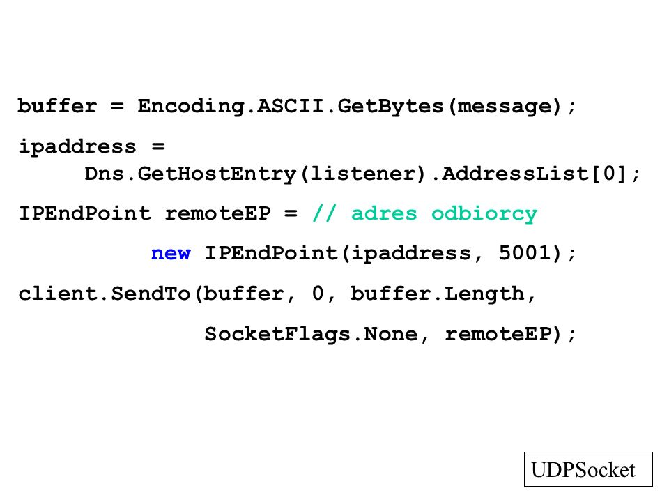 gniazda TCP - odbiorca Socket GetListenerSocket(string host, int port) { Socket s = null, ts; IPEndPoint lep; IPHostEntry iphe = Dns.GetHostEntry(host); foreach(IPAddress ipa in iphe.AddressList) { lep = new IPEndPoint(ipa, port); ts = new Socket(lep.AddressFamily, SocketType.Stream, ProtocolType.Tcp);