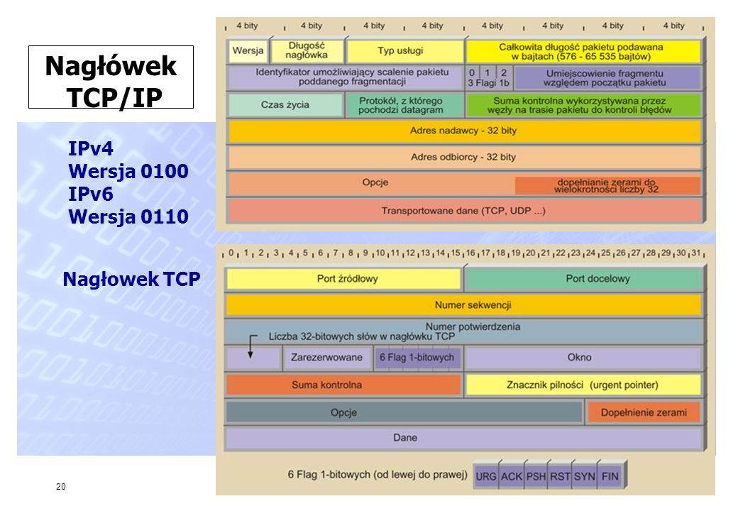 20 Nagłówek TCP/IP IPv4 Wersja 0100 IPv6 Wersja 0110 Nagłowek TCP
