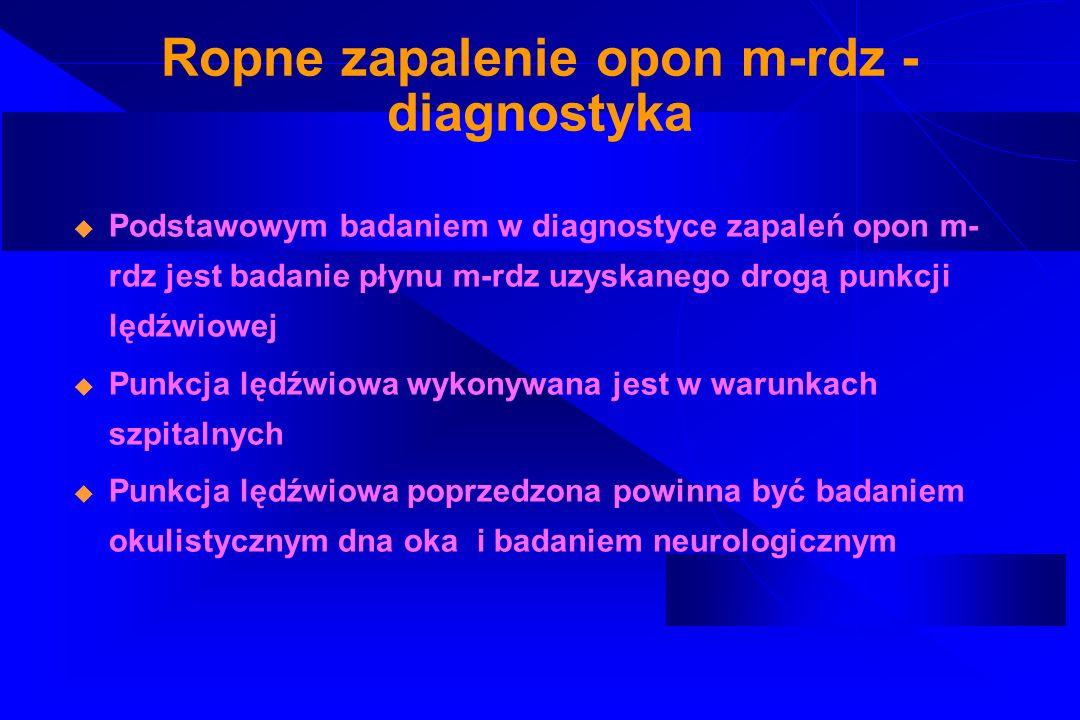 Ropne zapalenie opon m-rdz - diagnostyka Podstawowym badaniem w diagnostyce zapaleń opon m- rdz jest badanie płynu m-rdz uzyskanego drogą punkcji lędź