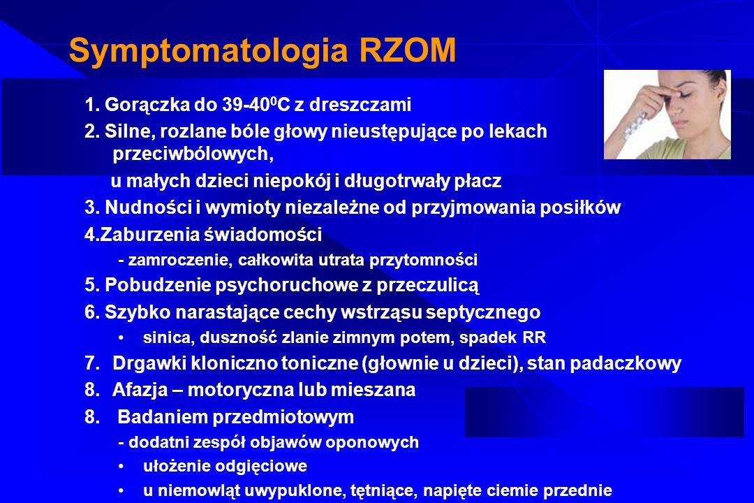 Symptomatologia RZOM 1. Gorączka do 39-40 0 C z dreszczami 2. Silne, rozlane bóle głowy nieustępujące po lekach przeciwbólowych, u małych dzieci niepo