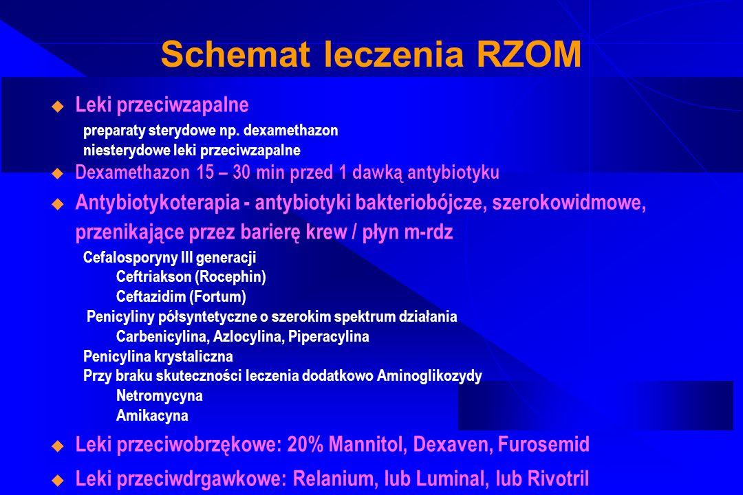 Schemat leczenia RZOM Leki przeciwzapalne preparaty sterydowe np. dexamethazon niesterydowe leki przeciwzapalne Dexamethazon 15 – 30 min przed 1 dawką