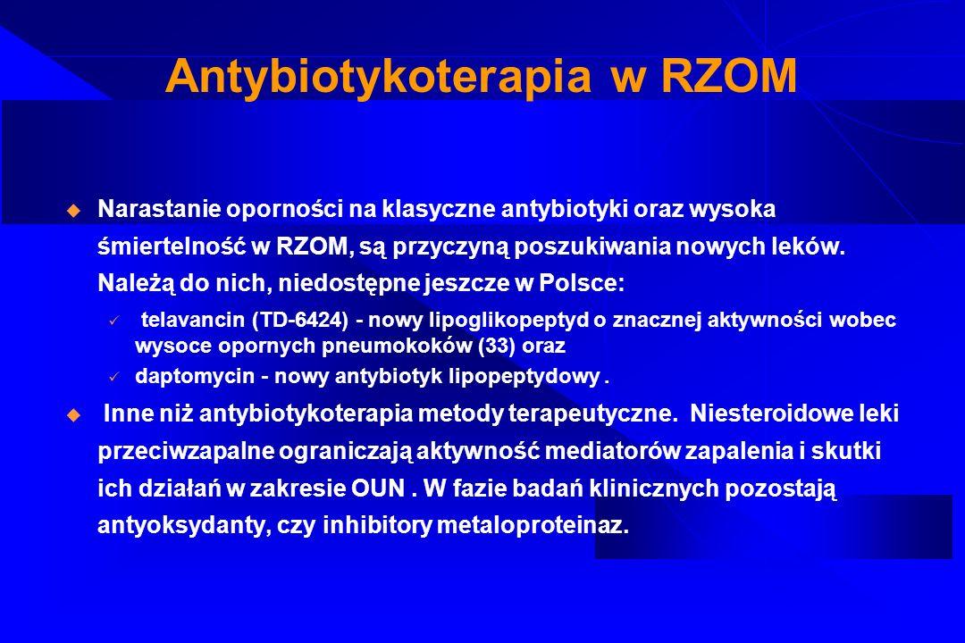 Antybiotykoterapia w RZOM Narastanie oporności na klasyczne antybiotyki oraz wysoka śmiertelność w RZOM, są przyczyną poszukiwania nowych leków. Należ