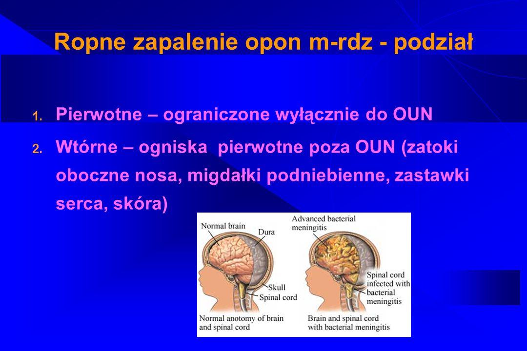 Ropne zapalenie opon m-rdz – drogi zakażenia 1.Droga kropelkowa 2.