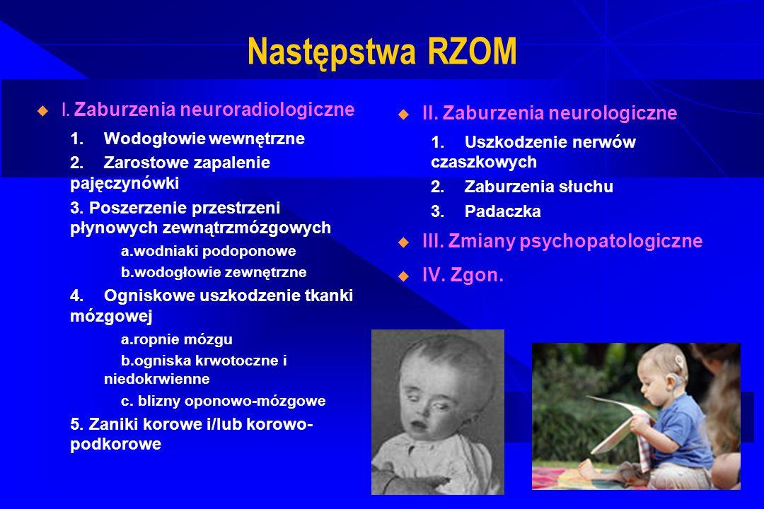 Następstwa RZOM I. Zaburzenia neuroradiologiczne 1.Wodogłowie wewnętrzne 2.Zarostowe zapalenie pajęczynówki 3. Poszerzenie przestrzeni płynowych zewną