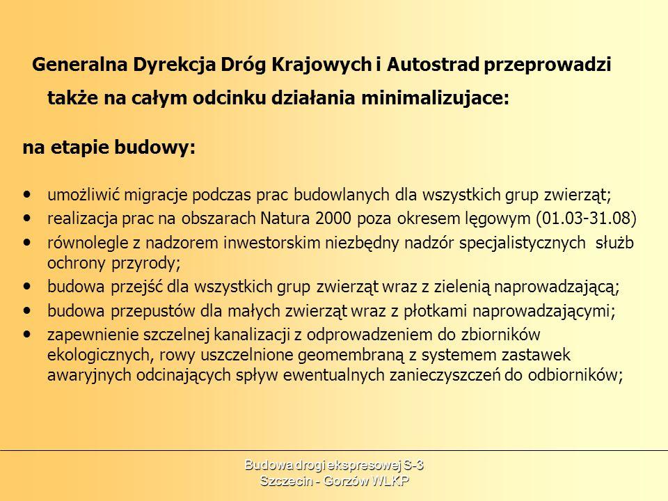 Budowa drogi ekspresowej S-3 Szczecin - Gorzów WLKP na etapie eksploatacji: regularny monitoring stanu zachowania obszaru; badanie śmiertelności zwierząt na drodze; zapewnienie strefy spokoju w okolicy przejść dla zwierząt; zapewnienie drożności przepustów przed okresem sezonowej migracji; W celu weryfikacji założeń projektowych i zaleceń Raportu Oddziaływania na Środowisko względem rzeczywistego oddziaływania drogi S3 należy przeprowadzić analizę porealizacyjną.