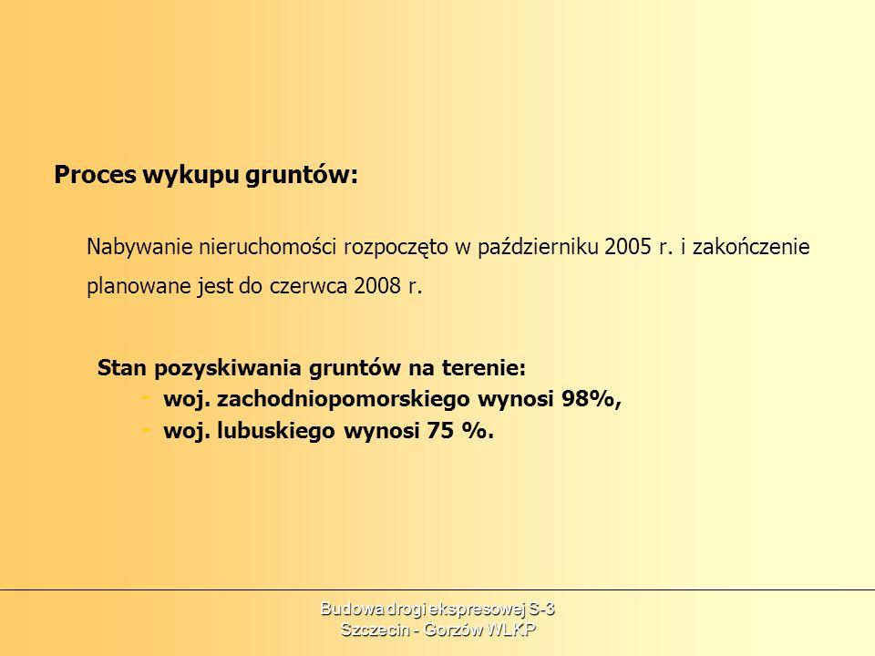 Budowa drogi ekspresowej S-3 Szczecin - Gorzów WLKP Proces wykupu gruntów: Nabywanie nieruchomości rozpoczęto w październiku 2005 r. i zakończenie pla