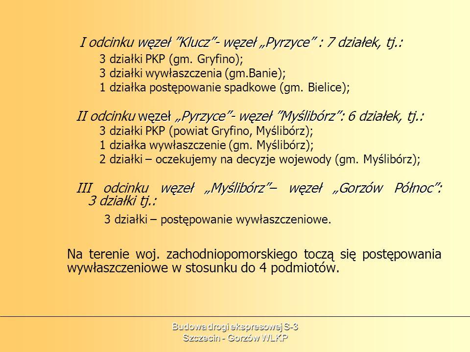 Budowa drogi ekspresowej S-3 Szczecin - Gorzów WLKP węzeł Klucz- węzeł Pyrzyce I odcinku węzeł Klucz- węzeł Pyrzyce : 7 działek, tj.: 3 działki PKP (g