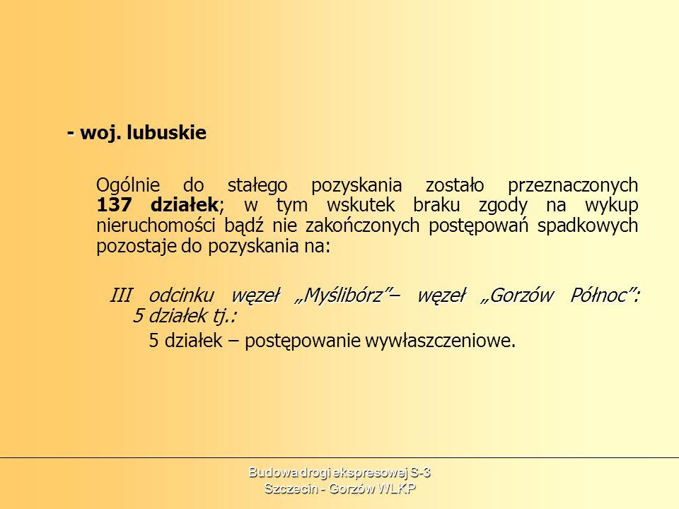 Budowa drogi ekspresowej S-3 Szczecin - Gorzów WLKP - - woj. lubuskie Ogólnie do stałego pozyskania zostało przeznaczonych 137 działek; w tym wskutek
