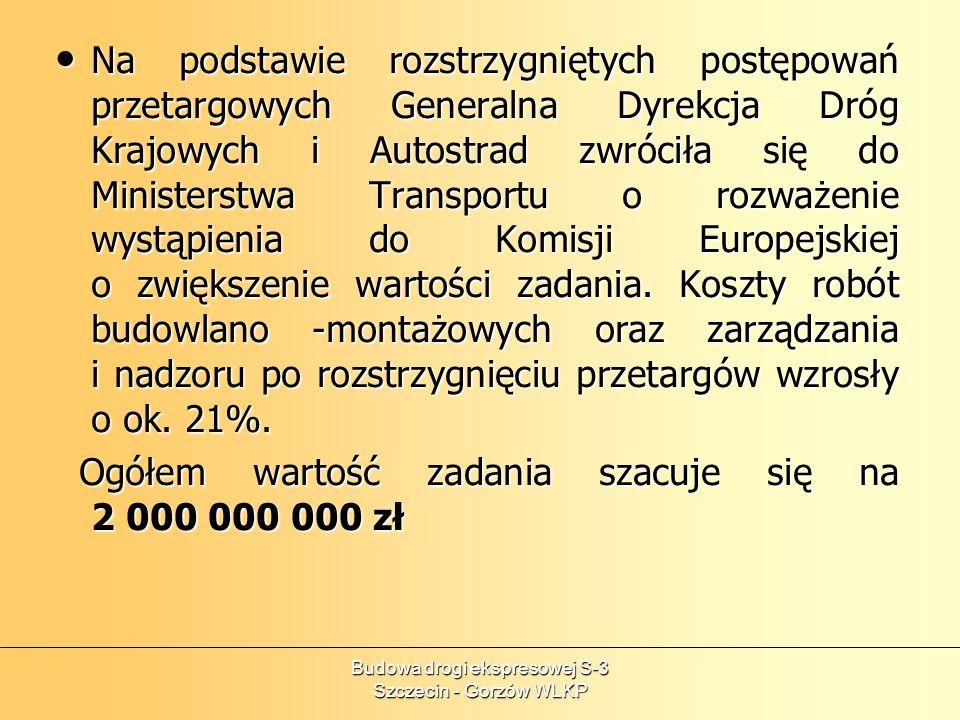 Budowa drogi ekspresowej S-3 Szczecin - Gorzów WLKP Na podstawie rozstrzygniętych postępowań przetargowych Generalna Dyrekcja Dróg Krajowych i Autostr