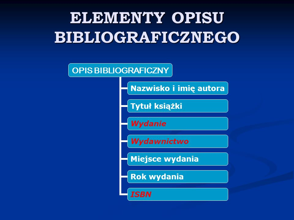 ZASADY DOTYCZ Ą CE OPISU BIBLIOGRAFICZNEGO Informacje o książce spisujemy ze strony tytułowej Informacje o książce spisujemy ze strony tytułowej (nie z okładki).