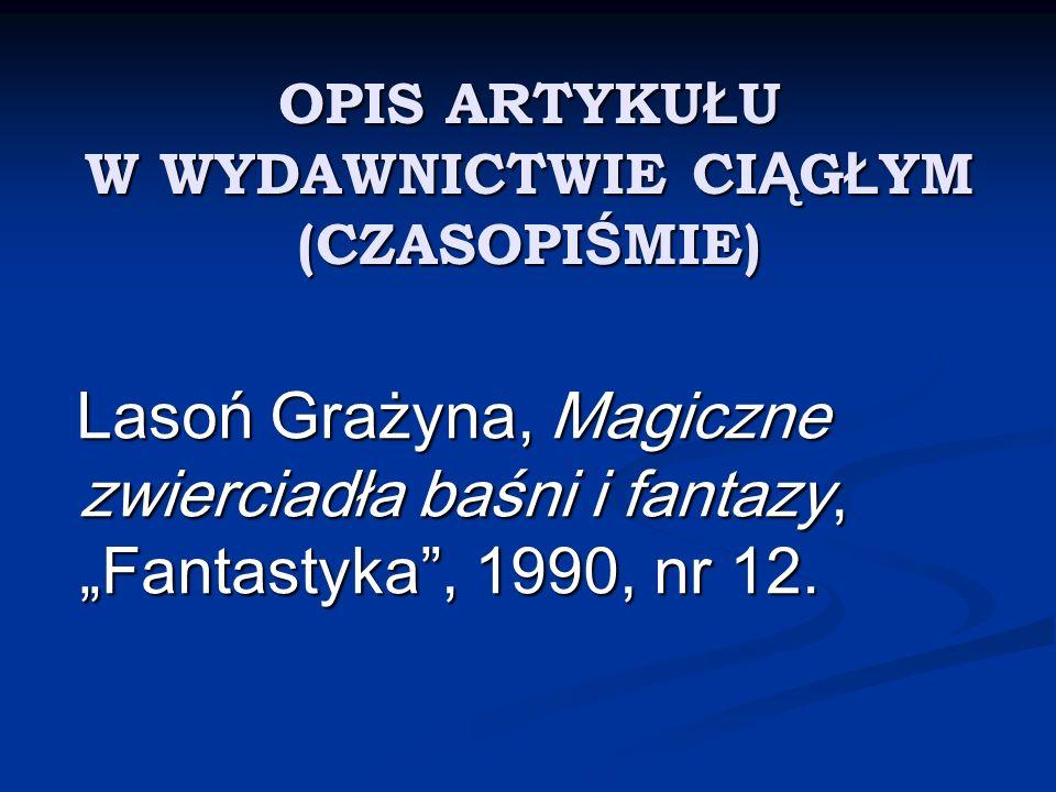 OPIS BIBLIOGRAFICZNY DOKUMENTU ELEKTRONICZNEGO Papszun T., J.R.R.