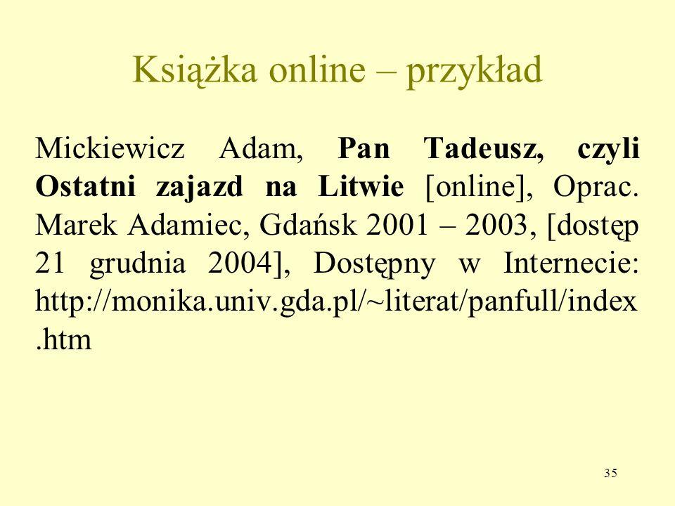 34 Artykuł, rozdział książki na CD – przykład Panteon bogów egipskich, W: Egipt [CD – ROM], Red. Mirosław Dąbrowski, Magdalena Olkuśnik, Kraków 1999