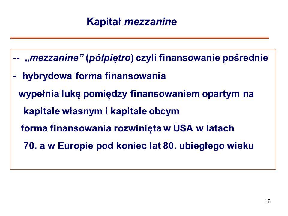 16 Kapitał mezzanine -- mezzanine (półpiętro) czyli finansowanie pośrednie - hybrydowa forma finansowania wypełnia lukę pomiędzy finansowaniem opartym na kapitale własnym i kapitale obcym forma finansowania rozwinięta w USA w latach 70.