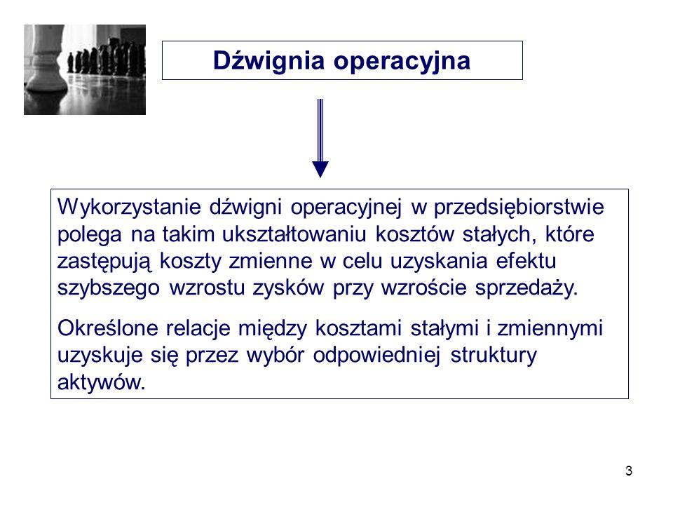 3 Dźwignia operacyjna Wykorzystanie dźwigni operacyjnej w przedsiębiorstwie polega na takim ukształtowaniu kosztów stałych, które zastępują koszty zmi