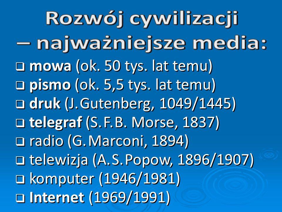 * T. Goban-Klas: Cywilizacja medialna. Geneza, ewolucja, eksplozja. WSiP, Warszawa 2005, s. 17