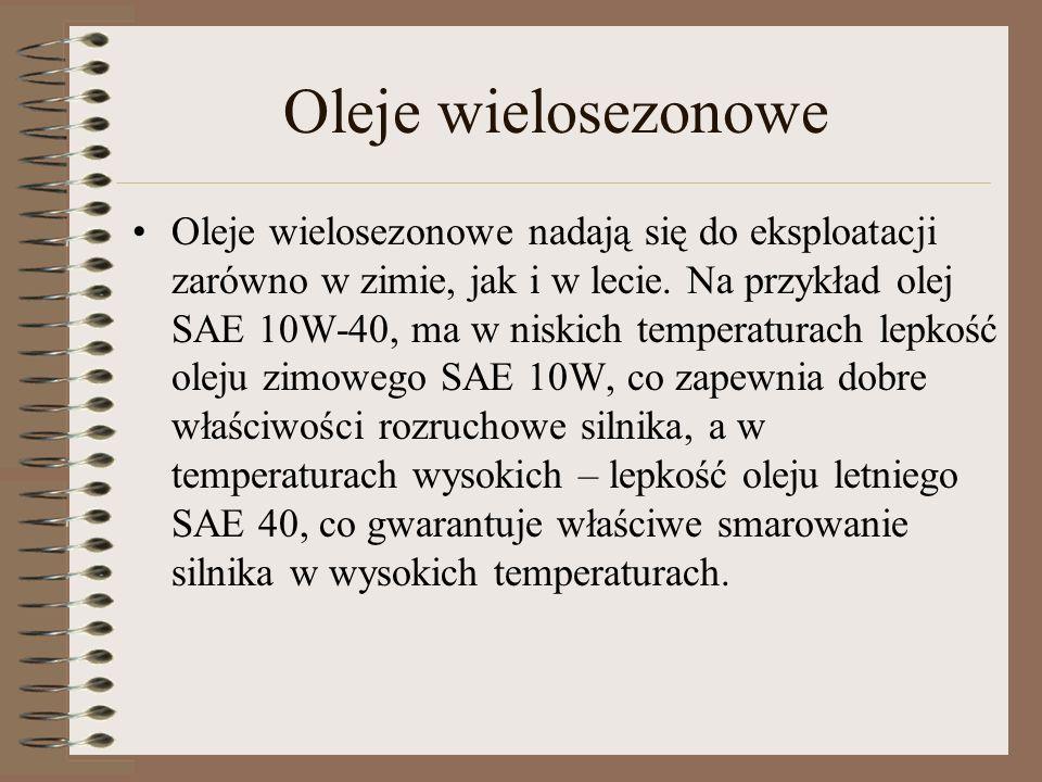 Oleje wielosezonowe Oleje wielosezonowe nadają się do eksploatacji zarówno w zimie, jak i w lecie. Na przykład olej SAE 10W-40, ma w niskich temperatu