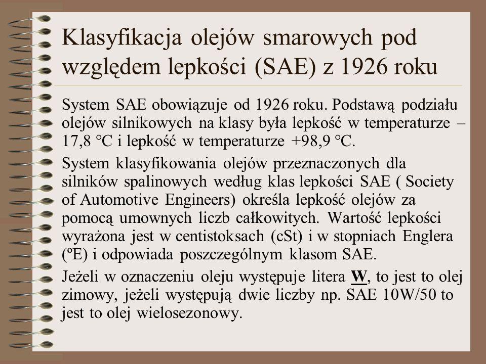 Klasyfikacja olejów smarowych pod względem lepkości (SAE) z 1926 roku System SAE obowiązuje od 1926 roku. Podstawą podziału olejów silnikowych na klas