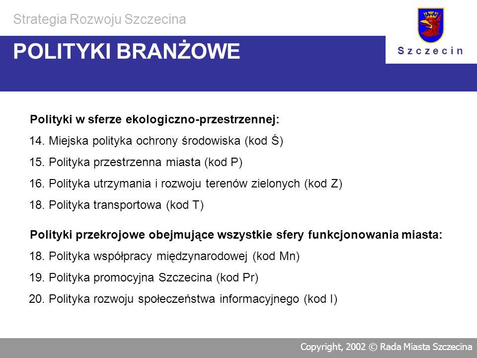 Polityki w sferze gospodarczej: 1.Polityka wspierania rozwoju gospodarczego (kod G) 2.Polityka wspierania rozwoju turystyki (kod Tu) POLITYKI BRANŻOWE