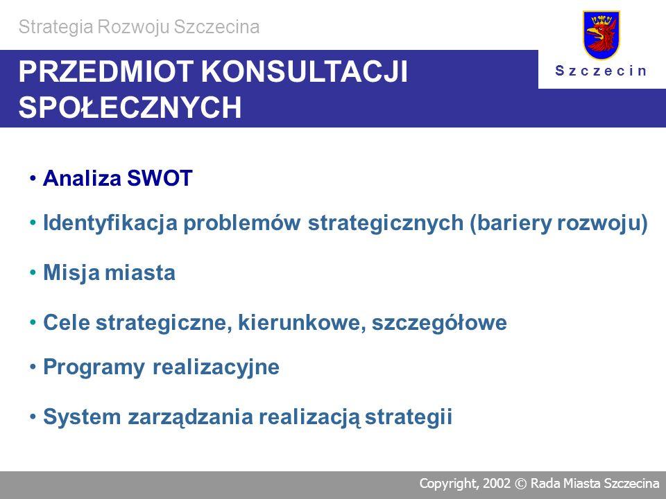KOLEJNOŚĆPRACKOLEJNOŚĆPRAC Realizacja Strategii Programowanie rozwoju - tworzenie dokumentu Strategii Rozwoju Szczecina Programowanie realizacyjne Zas