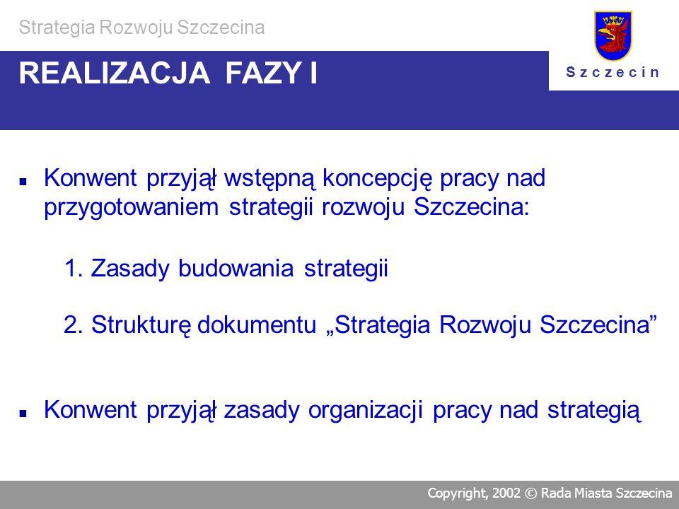 Faza II Analiza i diagnoza stanu Miasta od 15.07.2000 do 07.11.2000 Faza III Formułowanie Strategii Rozwoju Szczecina od 23.10.2000 do 06.05.2002 fazy