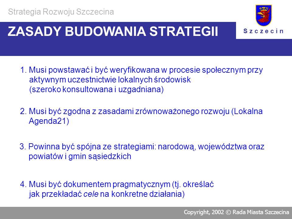 n Konwent przyjął wstępną koncepcję pracy nad przygotowaniem strategii rozwoju Szczecina: 1. Zasady budowania strategii 2. Strukturę dokumentu Strateg