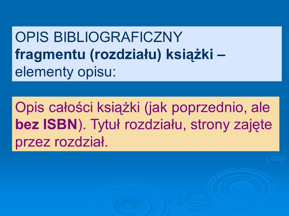 OPIS BIBLIOGRAFICZNY jednego tomu wielotomowej pracy zbiorowej: Poezja polska 1914-1939: antologia. Wy- bór i oprac. Ryszard Matuszewski, Sewe- ryn Po