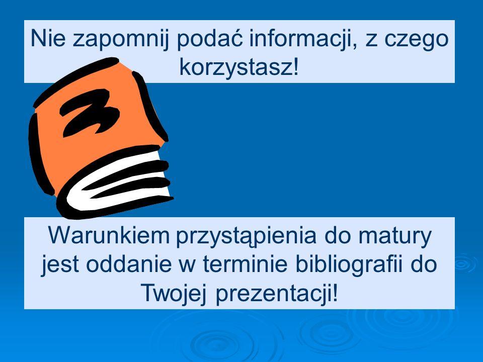 Opis bibliograficzny RECENZJI – elementy opisu: Nazwisko i imię autora recenzo- wanej książki: Tytuł recenzowa- nej książki.