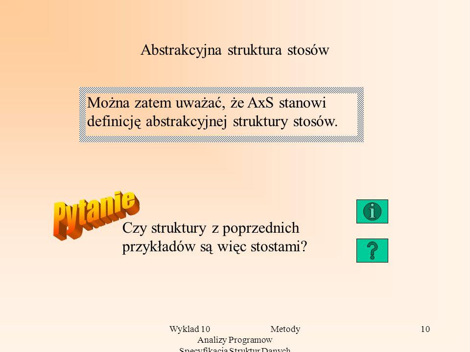 Wyklad 10 Metody Analizy Programow Specyfikacja Struktur Danych 10 Abstrakcyjna struktura stosów Można zatem uważać, że AxS stanowi definicję abstrakcyjnej struktury stosów.