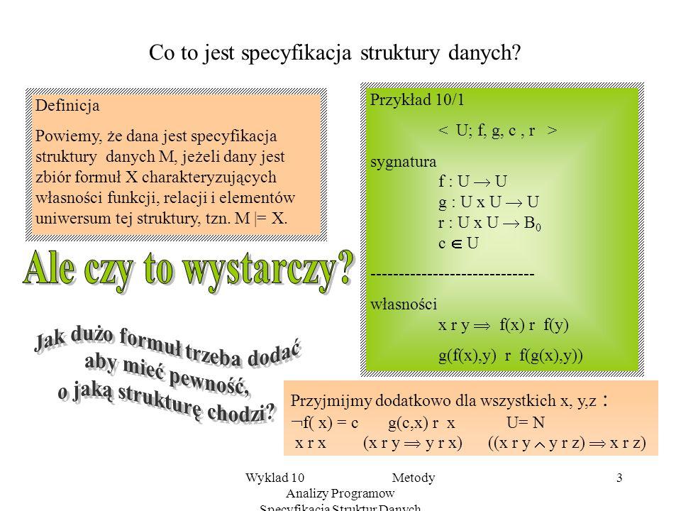 Wyklad 10 Metody Analizy Programow Specyfikacja Struktur Danych 2 Po co i jak specyfikować ? Wiemy, że realizacja algorytmu, przebieg obliczenia progr