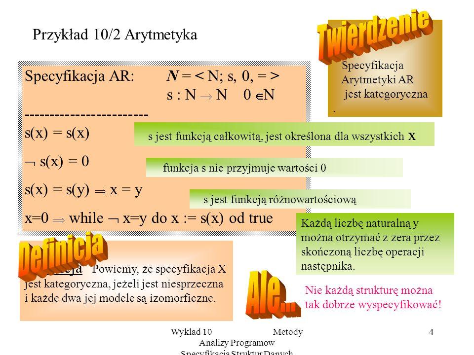 Wyklad 10 Metody Analizy Programow Specyfikacja Struktur Danych 4 Przykład 10/2 Arytmetyka Specyfikacja AR:N = s : N N 0 N ------------------------ s(x) = s(x) s(x) = 0 s(x) = s(y) x = y x=0 while x=y do x := s(x) od true s jest funkcją całkowitą, jest określona dla wszystkich x funkcja s nie przyjmuje wartości 0 s jest funkcją różnowartościową Każdą liczbę naturalną y można otrzymać z zera przez skończoną liczbę operacji następnika.