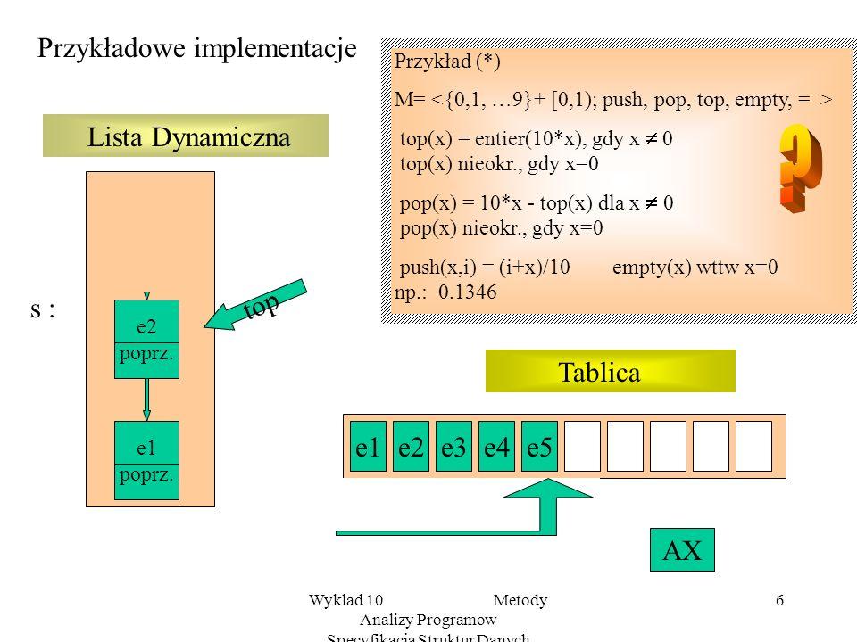 Wyklad 10 Metody Analizy Programow Specyfikacja Struktur Danych 5 Przykład 10/3 Stosy Standardową strukturą stosów nazywamy dwusortowy system algebrai
