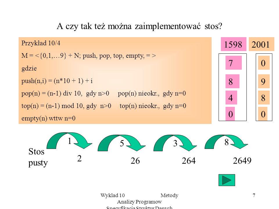 Wyklad 10 Metody Analizy Programow Specyfikacja Struktur Danych 6 Przykładowe implementacje e2 poprz. e1 poprz. e3 poprz. s : top Lista Dynamiczna e1e