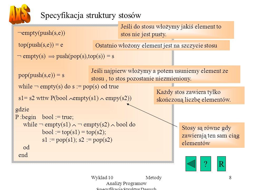 Wyklad 10 Metody Analizy Programow Specyfikacja Struktur Danych 8 Specyfikacja struktury stosów empty(push(s,e)) top(push(s,e)) = e empty(s) push(pop(s),top(s)) = s pop(push(s,e)) = s while empty(s) do s := pop(s) od true s1= s2 wttw P(bool empty(s1) empy(s2)) gdzie P :begin bool := true; while empty(s1) empty(s2) bool do bool := top(s1) = top(s2); s1 := pop(s1); s2 := pop(s2) od end Jeśli do stosu włożymy jakiś element to stos nie jest pusty.