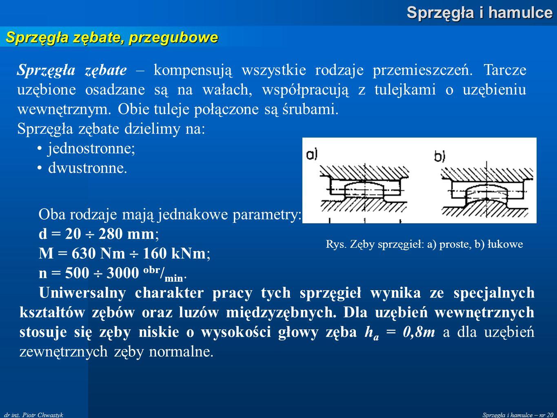 Sprzęgła i hamulce – nr 20 Sprzęgła i hamulce dr inż. Piotr Chwastyk Sprzęgła zębate, przegubowe Sprzęgła zębate – kompensują wszystkie rodzaje przemi