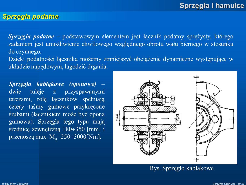 Sprzęgła i hamulce – nr 23 Sprzęgła i hamulce dr inż. Piotr Chwastyk Sprzęgła podatne Sprzęgła podatne – podstawowym elementem jest łącznik podatny sp