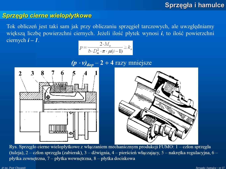 Sprzęgła i hamulce – nr 37 Sprzęgła i hamulce dr inż. Piotr Chwastyk Sprzęgło cierne wielopłytkowe Tok obliczeń jest taki sam jak przy obliczaniu sprz