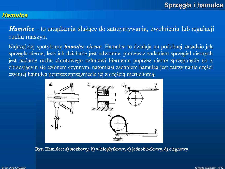 Sprzęgła i hamulce – nr 43 Sprzęgła i hamulce dr inż. Piotr Chwastyk Hamulce Hamulce – to urządzenia służące do zatrzymywania, zwolnienia lub regulacj